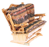 Twig-Art Loveseat Glider Rocker and Ottoman Set